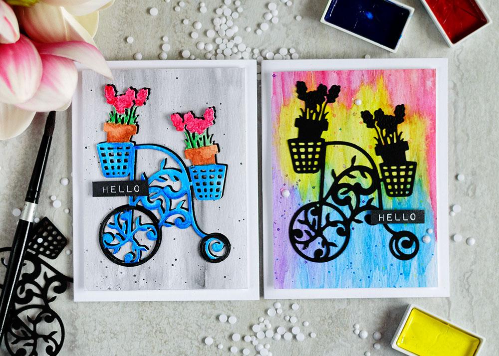 Spellbinders Lavender Trike Die. Cards by @craftwalks. #card #cardmaking #spellbinders #die-cutting #watercolor